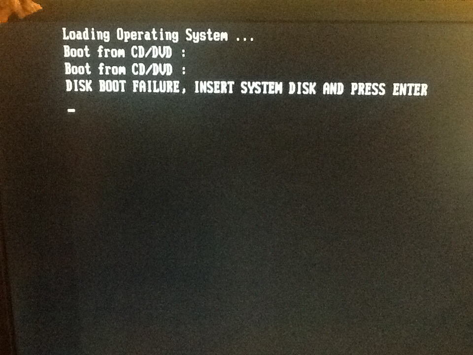 """Disk boot failure..."""