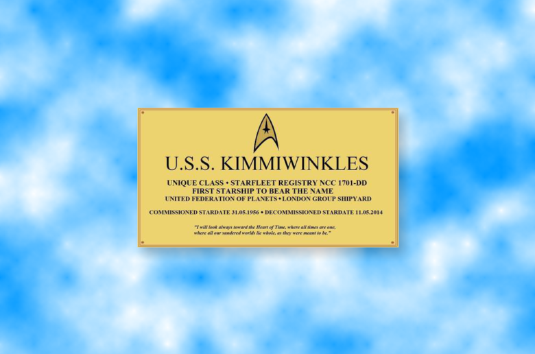 Kimmie's commissioning plate