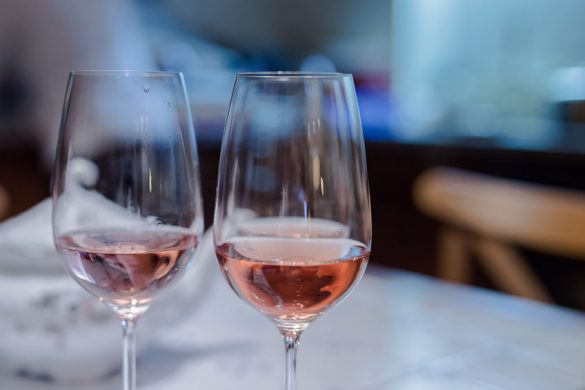 Two glasses of a pink wine