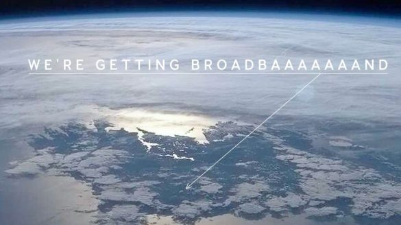 Ireland from space, with happily screaming writers